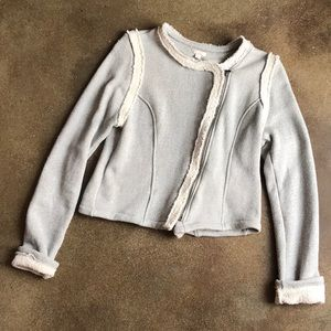 Gray and White Gap Terry Jacket